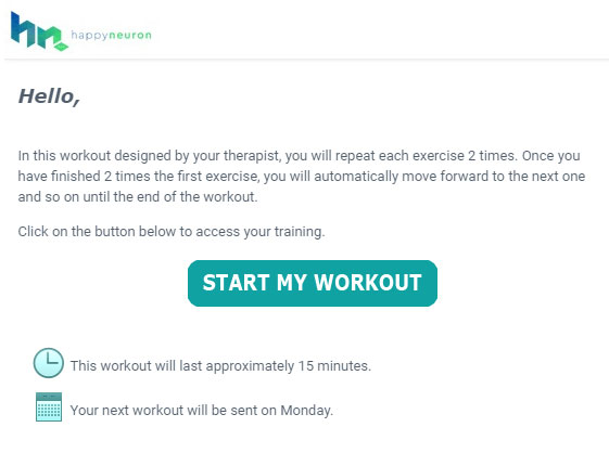 HappyNeuron Pro Workout Email