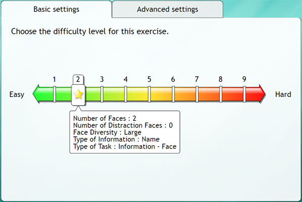 cognitive retraining exercises level